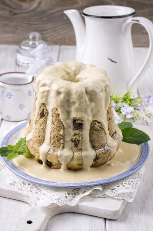 bundt cake with vanilla sauce photo