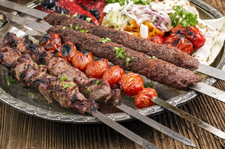 grilled kebab with koobideh 免版税图像