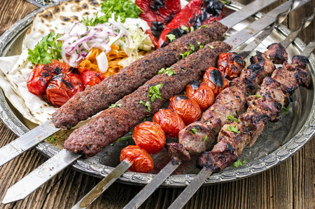 kabab: grilled koobideh with kebab Stock Photo