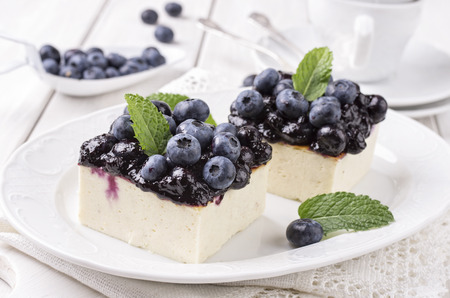 cheese cake with hackleberries Stock Photo