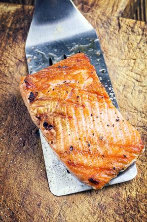 salmon fillet: grilled salmon fillet Stock Photo