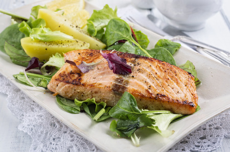 nostalgy: grilled salmon fillet Stock Photo