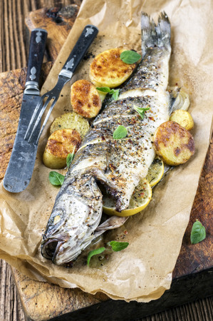delikatesse: grilled fish Stock Photo