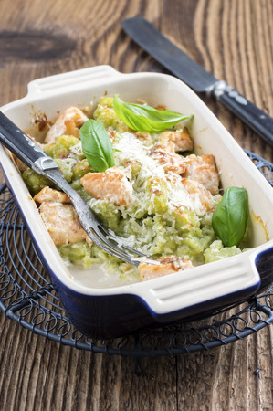 emaille: Gnocchi with Salmon Stock Photo