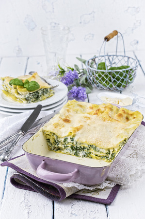 gelb: Spinach Lasagne Stock Photo