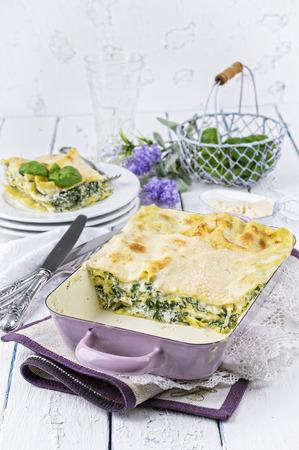 gelb: Spinach Lasagne Stock Photo