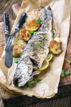 salmo trutta: fish grilled Stock Photo