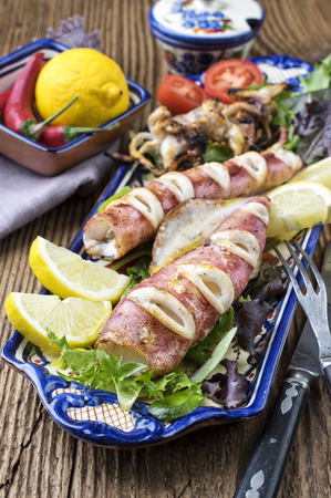 delikatesse: grilled squid Stock Photo