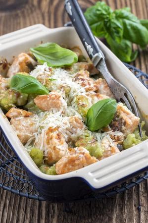 holz: Gnocchi with Salmon Stock Photo