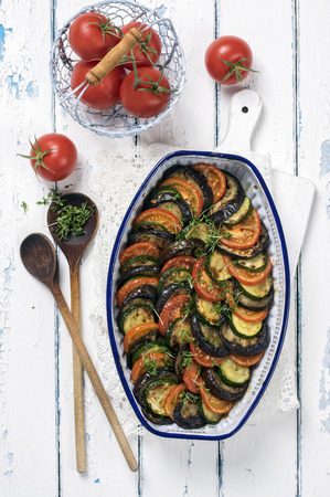 herbs of provence: Ratatouille in old Casserolle Stock Photo