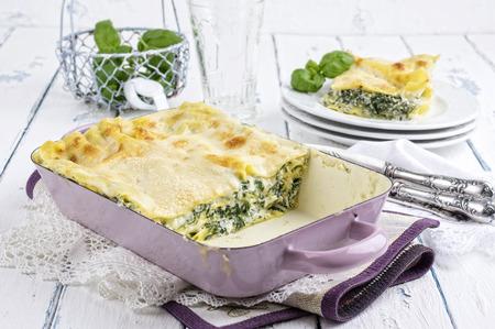 Spinazie Lasagne Stockfoto