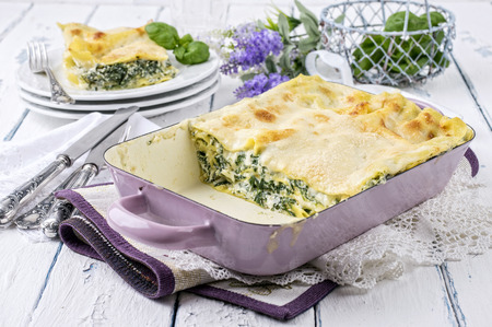 wine sauce: Spinach Lasagne Stock Photo