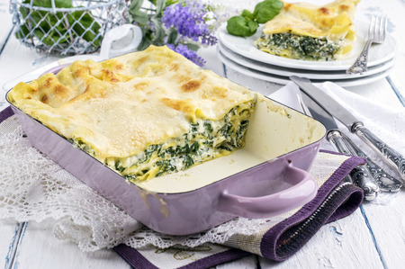 emaille: Spinach Lasagne Stock Photo