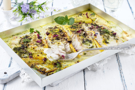 freshwater fish: roasted zander fillet with herbs