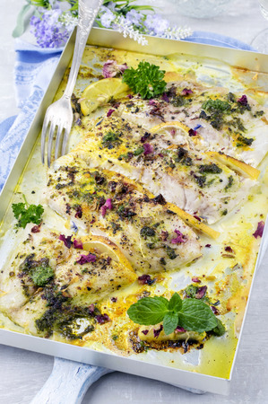 zander: roasted zander fillets with herbs
