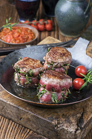 grill pattern: Beef Fillet medallions Stock Photo