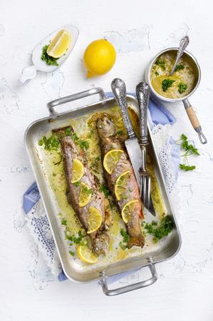 salmo trutta: roasted char with lemon Stock Photo