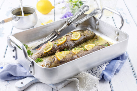 salmo trutta: roasted char with lemon and herbs