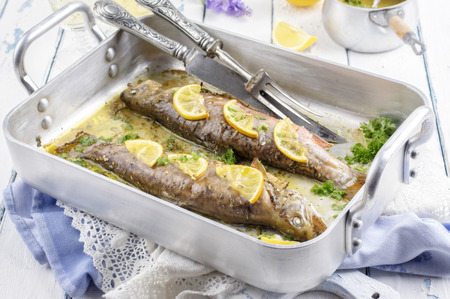 char: roasted char with lemon and herbs