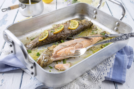 salmo trutta: roasted trout with lemon