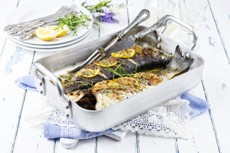 stuffed fish: sea bass roasted Stock Photo