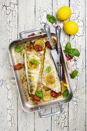 freshwater fish: zander fish fillets roasted Stock Photo