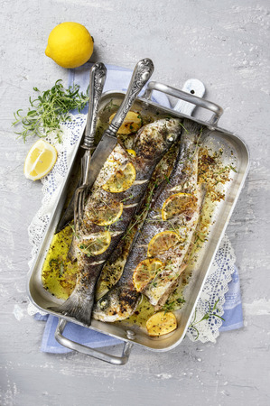 fine fish: sea bass roasted Stock Photo