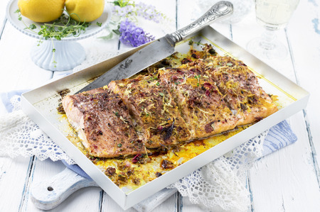 silver perch: salmon fillet with herbs