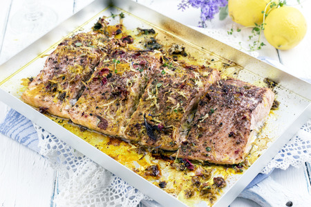 salmon fillet: salmon fillet roasted with herbs