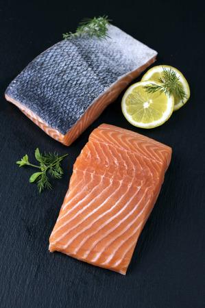 salmon filet: Salmon Filet on a slab of Slate