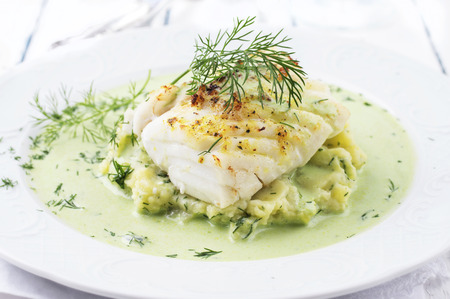 Cod filet in Basil Champagne Foam 版權商用圖片