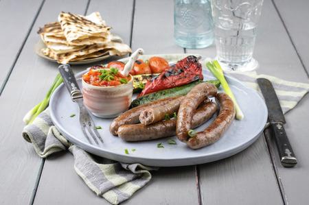 yufka: Lamb Sausages Stock Photo