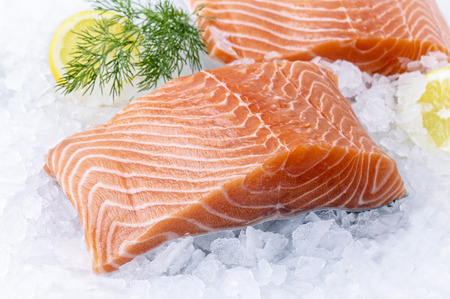 Zalm Filet on Ice Stockfoto