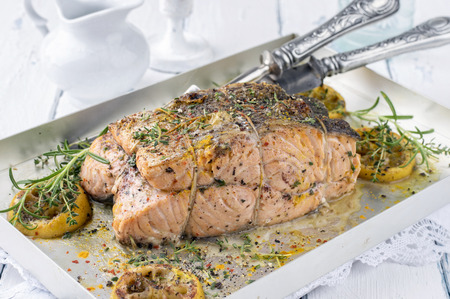 silver perch: Salmon Filet in a Silver Tray
