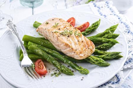 salmon fillet: green asparagus with salmon fillet Stock Photo