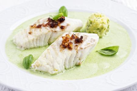 potato cod: Cod filet in Basil Champagne Foam Stock Photo