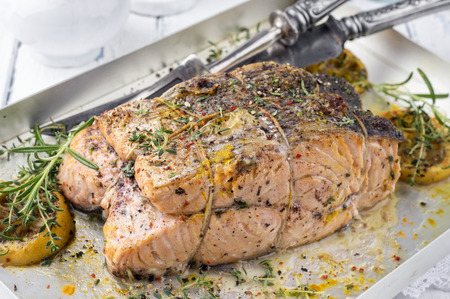 salmon steak: Salmon Steak in a Silver Tray