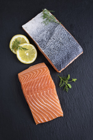 gelb: Salmon Filet on a Slab of Slate