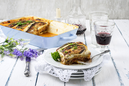 greek moussaka with minced meat