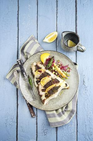 halibut: halibut fillet with herbs