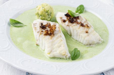 delikatesse: Cod filet in Basil Champagne Foam Stock Photo