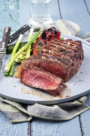 Sirloin steak on plate Stock Photo