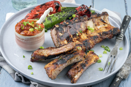 barbecue: Spare Ribs on Plate