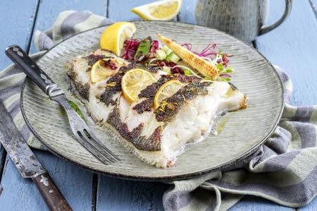 halibut: roasted halibut Stock Photo