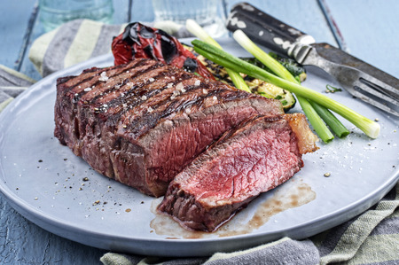 Sirlon Steak on Plate Stock Photo