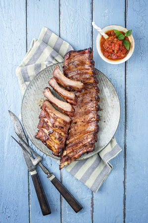 spare ribs: Barbecue Spare Ribs on Plate
