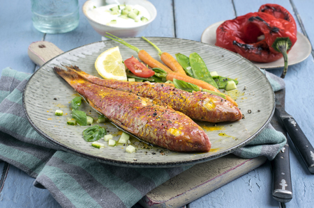 sweet sugar snap: Barbecue Red Mullet on Plate Stock Photo