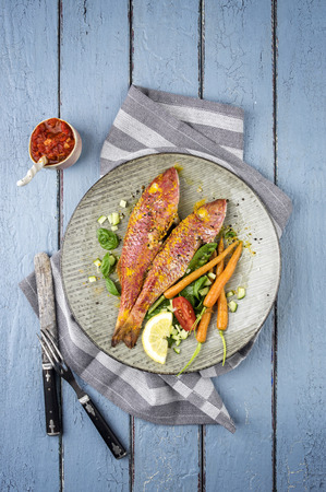 mullet: Barbecue Red Mullet on Plate Stock Photo