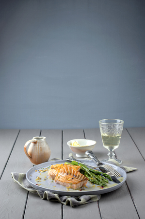 fish plate: Salmon Filet with Green Asparagus