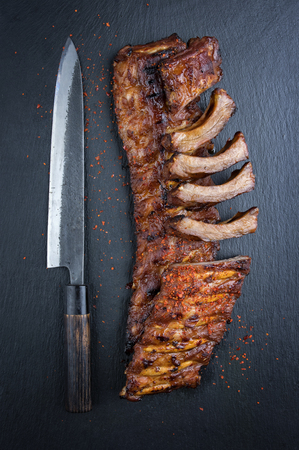 spare ribs: Barbecue Spare Ribs on Black Background
